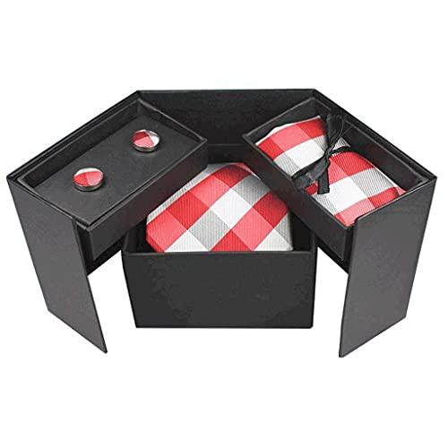 NXYJD Sistema de Bolsillo de la Corbata de los Hombres con Caja de Regalo Classic Plaid Silk Jacquard Tejido Cuello Tejido Cuello Hanky Gemflink Set (Color : C)