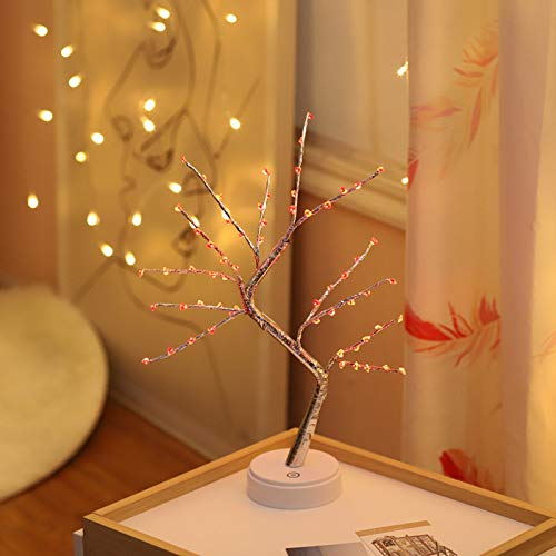 CHYA Lámpara de Mesa de Árbol Bonsái Lámpara Led para Escritorio Decoración de Mesa de Escritorio 36 Perlas para Decoración Luces para Dormitorio de Escritorio Fiesta de Navidad