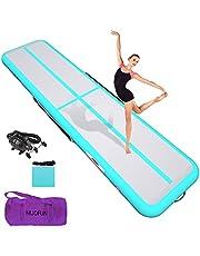 HIJOFUN Air golvmatta 3M 4M 5M 6M tumlande matta uppblåsbar gymnastikmatta tjock 10 cm/20 cm med pump för småbarn/vuxna/barn