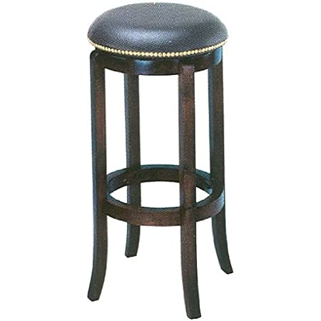 Athomemart 24 H Neilhead Black Leather Swilvel Barstool In Espresso Solid Wood Finish Furniture Decor