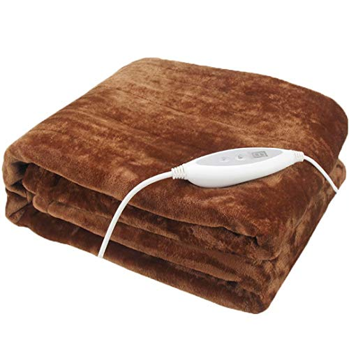 GQF Heating pad Soft Flannel Electric Blanket Overblanket with Timer 7-level temperature control Built In Advanced Overheat Protection System,Brown 180 * 130cm