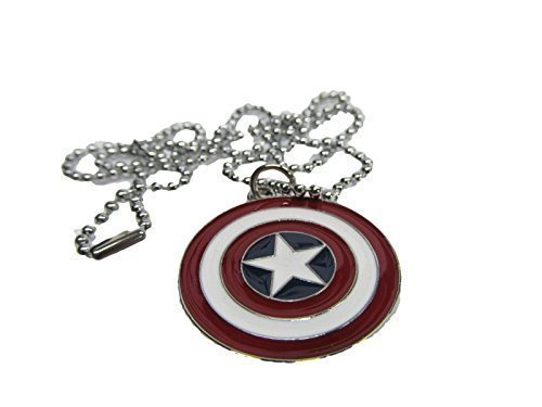 Red Captain America Shield Marvel Superhero Necklace Pendant 11' Chain gift idea - by Fat-catz-copy-catz
