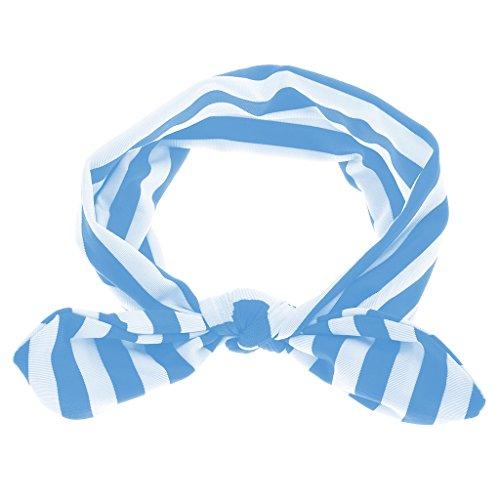 Filles Bébé Bandes de Cheveux d'Oreille Lapin Headband à Rayure Bandeau Turban Mignon pour Enfants - Bleu