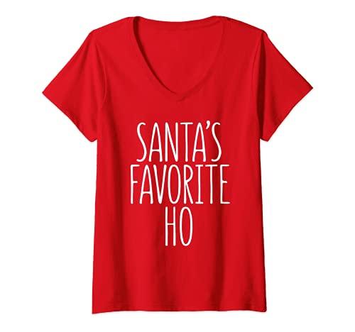 Mujer Disfraz de Santa Claus Favorite Ho T-Shirt Papá Noel a juego Camiseta Cuello V