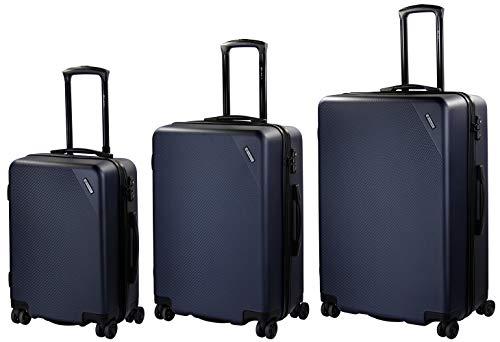 Bugatti Hartschalen Kofferset Kallisto (S, M & L) - 4 Rollen 3er Reisekoffer Set, Blau mit TSA Zahlenschloss