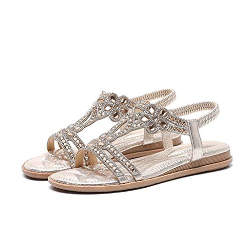 Sandalias para caminar para mujer Zapatos de playa antideslizantes con punta abierta Bohemia de diamantes de imitación de moda de verano Zapatos casuales para caminar de vacaciones, ajuste ancho antid