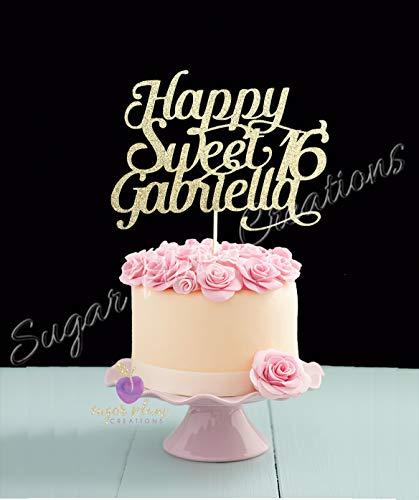 Personalized Happy Sweet 16 Birthday Cake Topper, Custom Sweet 16 Cake