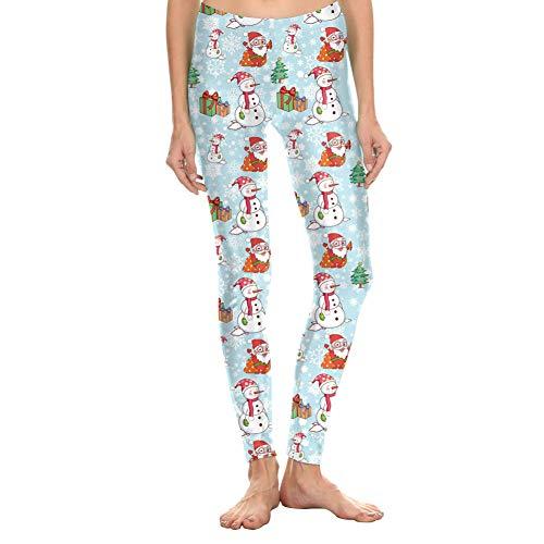 YUJIAKU Yoga broek/strak/Abdominale oefening running yoga leggings Herfst en winter Kerstman sneeuwpop print leggings S