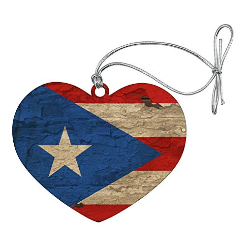 GRAPHICS & MORE Rustic Distressed Puerto Rico Flag Wood Look Heart Love Wood Christmas Tree Holiday Ornament