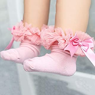Socks 3 Pairs Bow Lace Socks Baby Cotton Ankle Socks, Size:L(Yellow) Outdoor & Sports (Color : Pink)