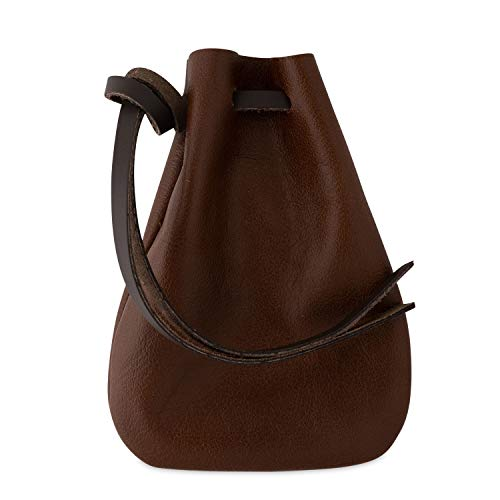 Leather Drawstring Pouch, Coin Bag, Medicine Tobacco Pouch Medieval Reenactment Size 5.75x4.25 - Made in U.S.A. by Nabob Leather (Brown, Medium)