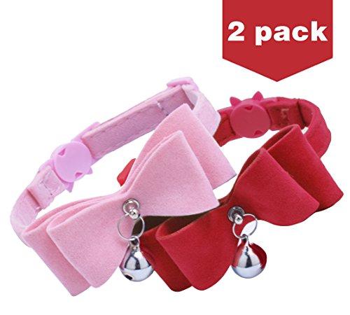 BINGPET 2 Pcs Breakaway Bowtie Cat Collars with Bell Red & Pink