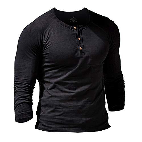 Hombres Slub Henley Camiseta Corto Manga Ligero Relajado Ajuste Casual con 3 Botones Abertura Cuello Redondo Camisas