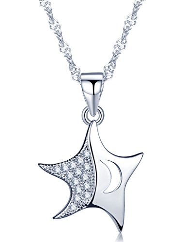 Unendlich U Fashion Tanzend Stern Mond Damen Halskette 925 Sterling Silber Zirkonia Anhänger Kette mit Anhänger, Silber