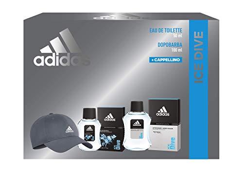 Adidas, Confezione Regalo Uomo Ice Dive, Eau de Toilette 50 ml, Dopobarba 100 ml, Cappellino con Visiera