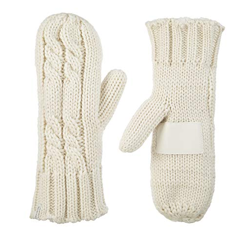 isotoner womens Chunky Cable Knit Sherpasoft cold weather mittens, Ivory, One Size US