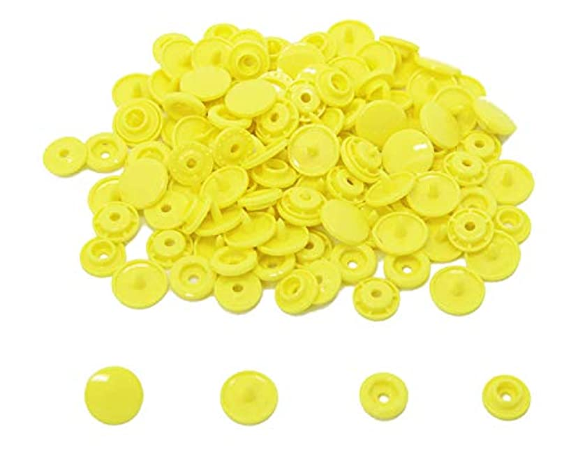 200 KAM Size 20 T5 Resin Plastic Snaps Buttons for Baby Bib Cloth Diaper (B7 - Yellow)