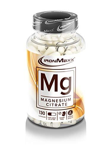 IronMaxx Mg Magnesium - 130 Kapseln - Hochdosiert - Magnesium trägt zu einem normalen Energie-Stoffwechsel und einer normalen Muskel-Funktion bei - Designed in Germany