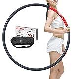 PROIRON Hula Hoop Adulto Aro de Fitness Desmontable con Espuma, Hula Hoop 1,8kg Perder Peso Ejercicio 73-98cm, Negro/Roj.