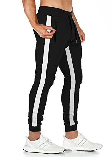 Lantch Jogginghose Herren Hose Baumwolle Jogger Sportswear Hosen Fitness Slim Fit Sporthose Männer Trainingshose Streifen Freizeithose Streetwear(B-Schwarz,S)