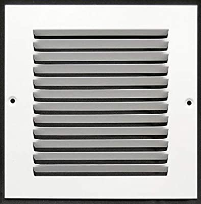 """8""""w X 8""""h Steel Return Air Grilles - Sidewall and Ceiling - HVAC Duct Cover - White [Outer Dimensions: 9.75""""w X 9.75""""h]"""