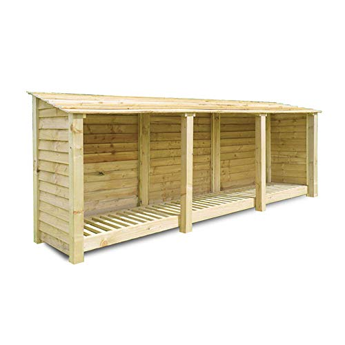 Rutland County Garden Furniture Empingham 4 ft Tall Log Store/Garden Storage Heavy Duty Pressure Treated Timber With Forward Sloping Roof (Solid Log Store Only, Light Green)