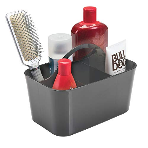 mDesign Plastic Portable Storage Organizer Caddy Tote - Divided Basket Bin with Handle for Bathroom, Dorm Room - Holds Hand Soap, Body Wash, Shampoo, Conditioner, Lotion - Small - Charcoal Gray