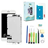 Screen Replacement for iPhone 7 (4.7 inch) -3D Touch LCD Screen Digitizer Replacement Display Assembly with Back Plate Repair Kits Waterproof Adhesive, Tempered Glass, Tools,Instruction (White)