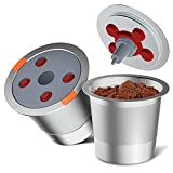 Reusable k Cup Pod Coffee Filters,Universal stainless steel Refillable k Cups Filter Use for Keurig 2.0 and 1.0 and K Supreme (Plus) Coffee Makers- brewers(2pack)…