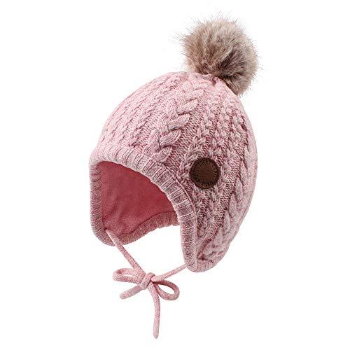 XIAOHAWANG Gorro de invierno para niños con forro de terciopelo para niños y niñas con pompón