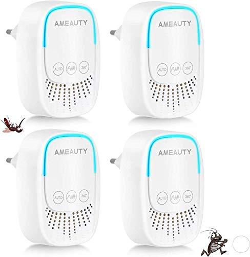 Ameauty Répulsif Ultrason - [Lot de 4] Anti-Moustiques Rongeurs Insectes, Fourmi, Souris, Cafard,...