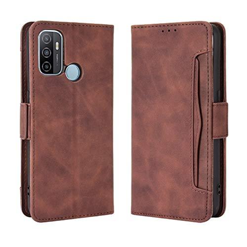 MingMing Lederhülle für Oppo A53s/Oppo A33 (2020) Hülle, Flip Hülle Schutzhülle Handy mit Kartenfach Stand & Magnet Funktion als Brieftasche, Tasche Cover Etui Handyhülle für Oppo A53s, Brown