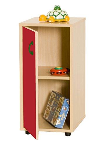 Mobeduc 600216HPS10-Mobile per sotto/armadio a 2 ripiani, in legno, colore: faggio/rosso ciliegia 76,5 x 40 x 36 cm