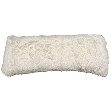 Brilliant Home Design Luxurious Faux Fur Body Pillow Cover with Long Hair, Removable with Sturdy Zipper Closure, Ultra Soft, Fit up To 20 X 54 Body Pillow (Multiple Colors Available) (OFF WHITE)