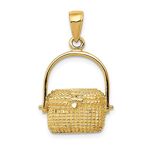 14k Yellow Gold Large Nantucket Basket Pendant Charm Necklace Sea Shore Beach Life Fine Jewelry For Women Gifts For Her
