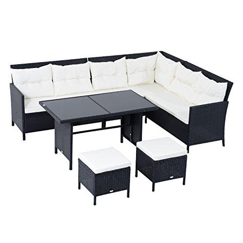 Outsunny 18 TLG. Sitzgarnitur Sitzgruppe Gartenset Sofagarnitur Gartenmöbel Set Lounge, Polyrattan, Schwarz