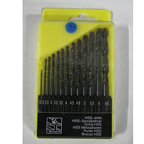 13Pcs Drill Bit Set, 1.5-6.5mm Twist Drill Bit HSS Punching Drill Bits Round Shank for Hard Metal Coating Tools