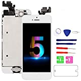 for iPhone 5 Screen Replacement White, 4.0' LCD Display Touch Full Assembly with Home Button, Proximity Sensor, Ear Speaker, Front Camera, Screen Protector, Repair Tools for A1428, A1429, A1442