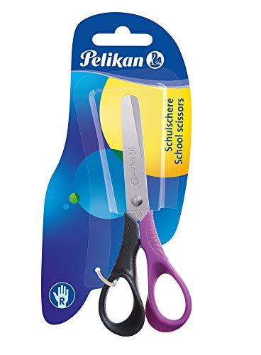 Pelikan Easy Handle Tijeras ergonómicas, 13 cm, para diestros, hojas de acero inoxidable con punta redondeada para niños, buenas para la escuela primaria, colores surtidos, 804813