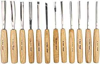 SCHAAF Full Size Wood Carving Tools Set of 12 with Canvas Case - Gouges and Chisels for Beginners, Hobbyists and Professionals