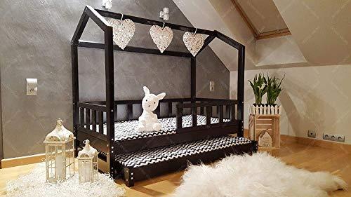 Hyggelia Doppelbett HAUSBETT KINDERHAUS Bett für Kinder,Kinderbett Spielbett mit SICHERHEITSBARRIEREN 5 Tage (140 x 70 cm, Gemalt)