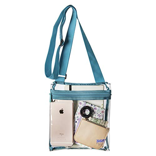 Clear Messenger Shoulder Bag, NFL & NCAA Cross-Body Adjustable Stadium Approved Transparent Purse, See-Thru Security Handbag for Events - Teal Green