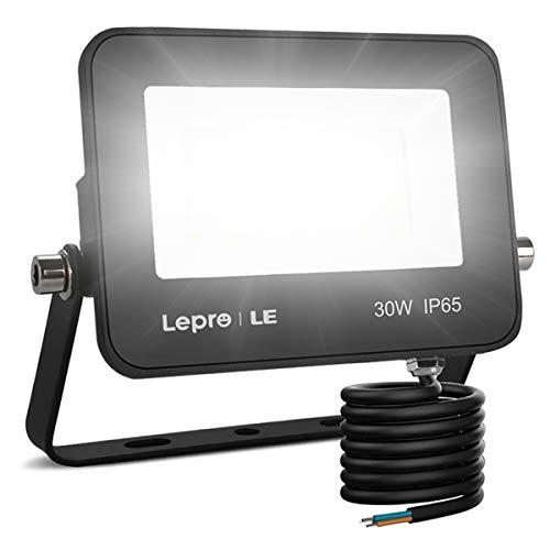 LE Foco LED de 30W, 2800 lúmenes, IP65 resistente al agua, Foco LED Exterior, Blanco Frío 5000 K, Ángulo de haz 120°, Foco Proyector LED para Jardín, Garaje, Hotel, Patio, etc.