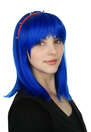 Prettyland Perruque Soyeuse Raide Droite Coupe Moyenne Look Naturel avec Volume lisse Bleu Roi C787