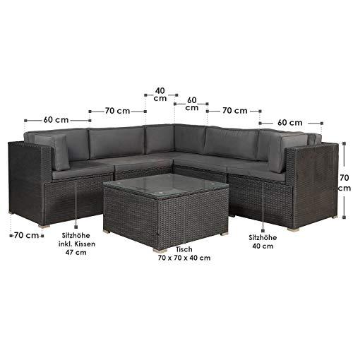 ArtLife Polyrattan Lounge Nassau schwarz | Gartenmöbel Set mit Ecksofa & Tisch | Bezüge in Grau | Sitzgruppe für Terrasse | Loungemöbel Gartenlounge - 2