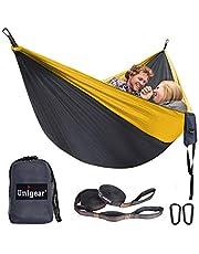 Unigear ultralichte hangmat, 320x200cm campinghangmat 2 personen 300kg belasting, ultralichte reishangmat met 1 paar ophangset + 2 aluminium karabijnhaken