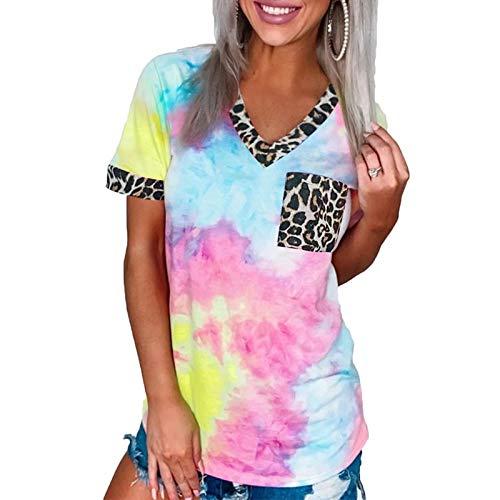 DREAMING-Suéter Casual para Mujer con Estampado de Leopardo teñido con Lazo, Bolsillo con Costura, Cuello en V, Camiseta de Manga Corta, Camiseta Holgada de algodón XL