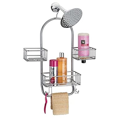 mDesign Bathroom Shower Tub Caddy Organizer Storage Center for Soaps, Shampoos, Conditioners, Body Washes, Scrubs, Washcloths, Loofahs - Solid Steel Construction with Silver Finish