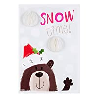 Hallmark クリスマスカード 雪の時間 可愛い熊 サンタハットの中 - M