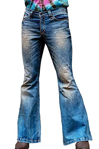 Men's Retro Stretch Bell Bottom Jeans 60s 70s Blue Stonewash Stretch Denim Bell Bottom Flares, Blue, XX-Large